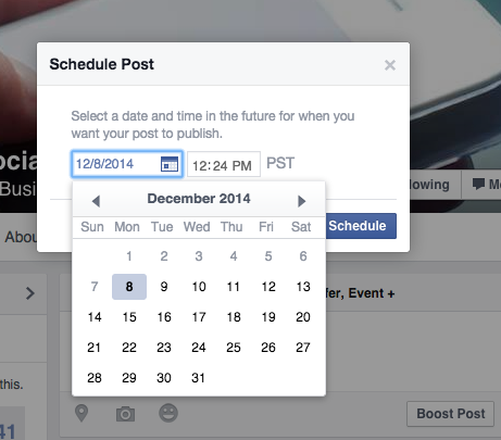 Facebook Schedule Post - Select Date and Time